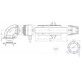 Дымоход коаксиальный для газовых настенных котлов (универсальный) L=750 мм 60/100