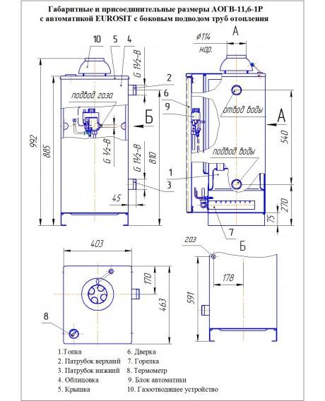 Газовый котел напольный Боринское АОГВ-11,6 Eurosit